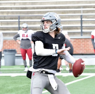 Washington State quarterback Cammon Cooper winds up to throw during the team's first preseason scrimmage, held Saturday afternoon at Martin Stadium in Pullman.  (Washington State Athletics)