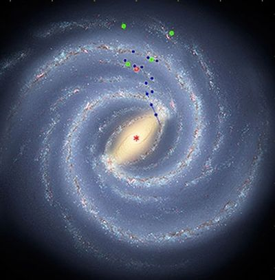 This  artist rendering provided by the Harvard-Smithsonian Center for Astrophysics shows the latest view of the Milky Way's structure. Harvard-Smithsonian Center  for Astrophysics, Robert Hurt, Mark Reid (Harvard-Smithsonian Center  for Astrophysics, Robert Hurt, Mark Reid / The Spokesman-Review)