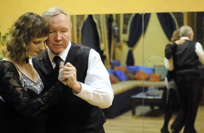 Arlene and Stan Jones dance an Argentine tango at the Simply Dance studio in downtown Spokane on  Jan 23. The avid ballroom dancers met at a dance 11 years ago in Alaska and still dance several nights a week.  (Jesse Tinsley / The Spokesman-Review)