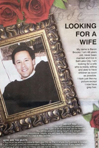 "The ""Looking for a wife"" ad placed by Baron Brooks' father in a North Idaho newspaper resulted in a dozen potential wife prospects, Brooks said Sunday, June 26, 2016. Although he knew nothing about the ad, Brooks said he is willing to go along with his father's matchmaking plan. (Coeur d'Alene Press)"
