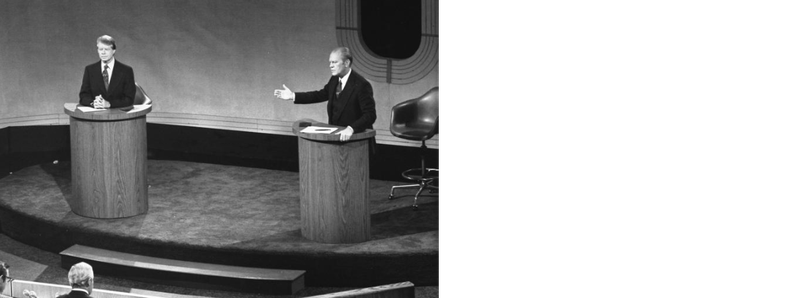 Image from the first presidential debate in front of a live television audience. Video available online of the match between President Gerald Ford and Georgia Gov. Jimmy Carter doesn't show a handshake, but contact sheets available through the Gerald R. Ford Library prove that the two did shake hands after the debate. (Courtesy Gerald R. Ford Library)