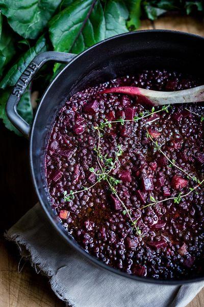Beet braised lentils. (SYLVIA FOUNTAINE)