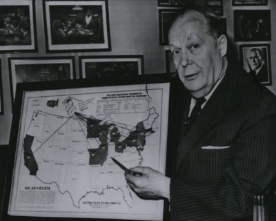 Sen. Karl Mundt, R-S.D., poses in 1963 with a map showing the key states that then held the most number of votes in the Electoral College. He proposed a constitutional amendment that would have required all states to distribute their electoral vote like Maine and Nebraska, which allocate two electoral votes to the presidential candidate who wins the most number of votes statewide and one vote to the candidate with the most votes in each congressional district.  (ASSOCIATED PRESS)