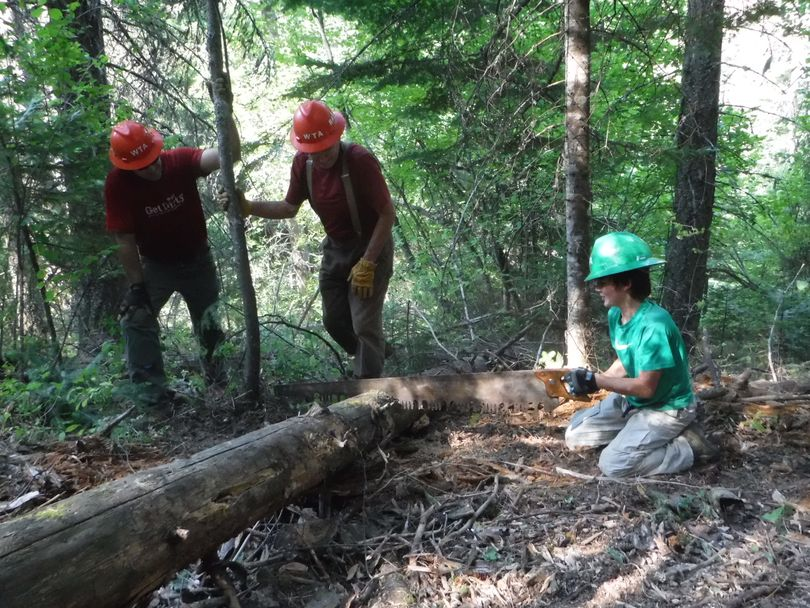 Keenan Dunfield, 9, is the Washington Trails Association's youngest East Side volunteer in 2015 to sign up for at least five work parties and earn a green hard hat.  (Holly Weiler)