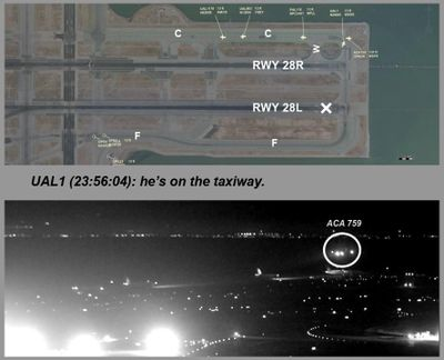 This composite of file images released by the National Transportation Safety Board (NTSB) shows Air Canada flight 759 (ACA 759) attempting to land at the San Francisco International Airport in San Francisco on July 7, 2017. (AP)