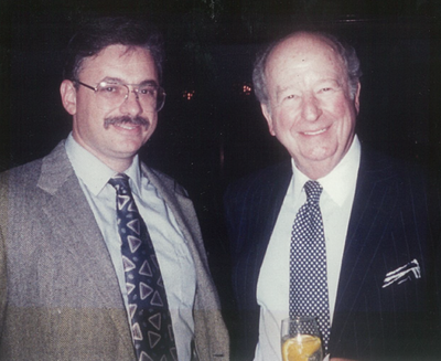 """In 1993, D.F. """"Dave"""" Oliveria met his newspaper hero Herb Caen of the San Francisco Chronicle, the master of three-dot journalism, at the annual convention of the National Society of Newspaper Columnists in Portland, Ore. In 1999, D.F. won the society's Herb Caen Memorial Tidbits Column Award for his long-running Huckleberries column in The Spokesman-Review. (Courtesy photo: Brenda Oliveria (aka """"Mrs. O"""") / Courtesy photo: Brenda Oliveria (aka """"Mrs. O""""))"""
