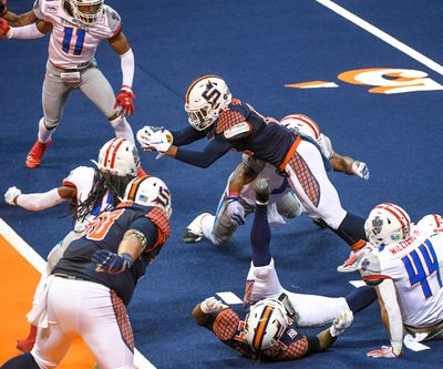 The Spokane Shock are back at the Arena for the first time since their 61-37 Indoor Football League win against the Northern Arizona Wranglers.  (DAN PELLE/THE SPOKESMAN-REVIEW)