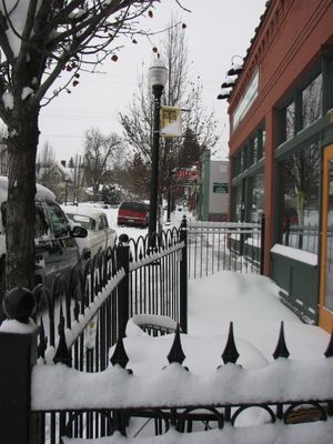 The business strip on the west side of South Perry Street, looking south on Feb. 24, 2011. (Pia Hallenberg)