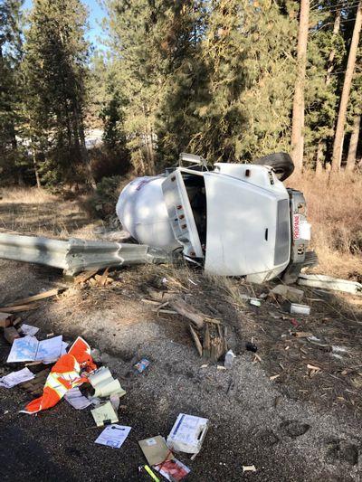 Washington State Patrol trooper and spokesman Jeff Sevigney tweeted an image of the semi rollover crash that led to a propane tank leak Saturday.  (Jeff Sevigney)