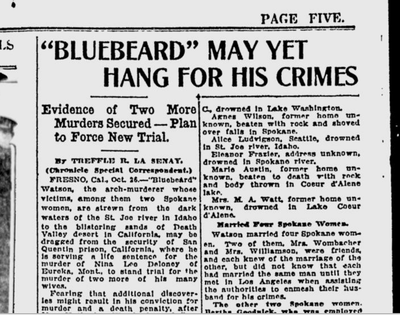 "New evidence implicated San Quentin prisoner ""Bluebeard"" Watson in additional slayings, according to this piece in the Oct. 26, 1920, edition of the Spokane Chronicle.  (S-R archives)"
