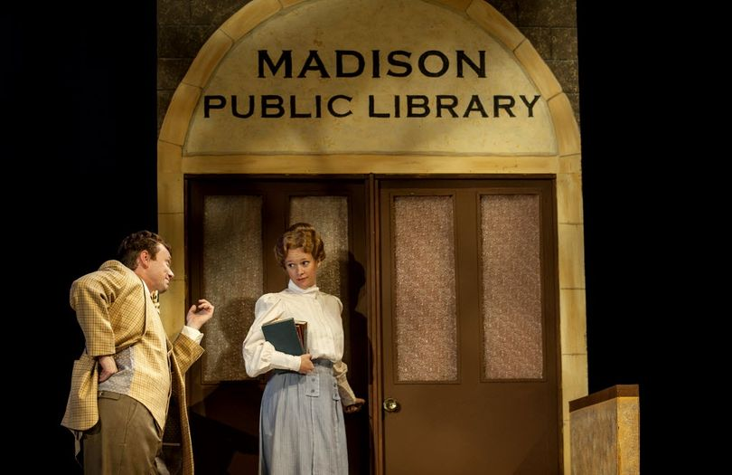 Cast members Matt Wolfe, left and Kasey Davis rehearse during Coeur d'Alene Summer Theatre's production of