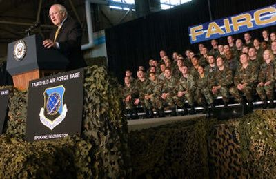 Vice President Dick Cheney addresses about 600 airmen at Fairchild Air Force Base on Monday  afternoon.   (Kathryn Stevens / The Spokesman-Review)