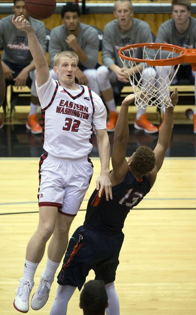 Eastern Washington forward Bogdan Bliznyuk (32) averaged 23.3 points, 8.0 rebounds and 6.5 assists last week during four wins. (Colin Mulvany / The Spokesman-Review)