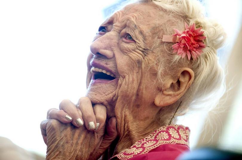 101-year-old Betty Hollingsworth enjoyed her birthday celebration at The McGrane Center's Henry Heyn Adult Day Center Coeur d'Alene on Friday, February, 27, 2015.