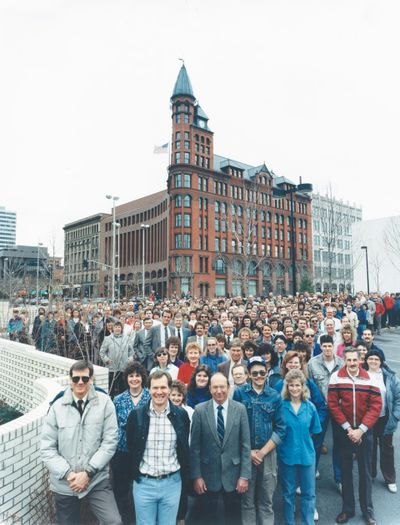 More than half of the 600 full-time Spokesman-Review and Spokane Daily Chronicle employees gathered outside the Review Tower for a group portrait in 1988.  (The Spokesman-Review photo archive)