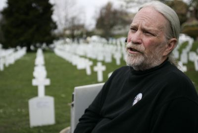 Gary Davis, shown in April, helped organize a one-day display of the Arlington Northwest Memorial to fallen soldiers in Iraq at Green Lake Park in Seattle.  Seattle Times (Courtney Blethen Seattle Times / The Spokesman-Review)