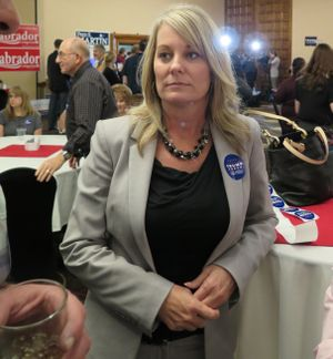 Idaho state schools Superintendent Sherri Ybarra at the Idaho GOP's election night watch party; she says she's been a Trump supporter from the start. (Betsy Z. Russell)