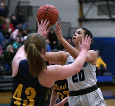 Central Valley guard Peyton Howard (20) shoots the ball as Mead post Jordynn Hutchinson (43) defends during the first half of a GSL high School basketball game, Fri., Jan. 31, 2020, at Central Valley High School. (Colin Mulvany / The Spokesman-Review)