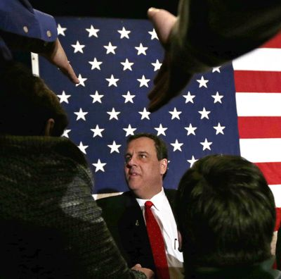 Republican presidential candidate, New Jersey Gov. Chris Christie thanks supporters during a primary night rally in Nashua, N.H., Tuesday, Feb. 9, 2016. (Charles Krupa / Associated Press)