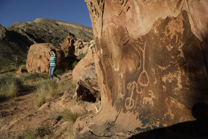Petroglyphs are visitor attractons at the Gold Butte National Monument near Bunkerville, Nev.   (John Locher / Associated Press)