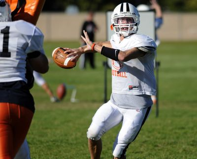 West Valley quarterback Drew Clausen looks for a receiver at practice Tuesday. He is a double threat to pass or run and is the key for the Eagles bid to win the Great Northern League title. (J. BART RAYNIAK / The Spokesman-Review)