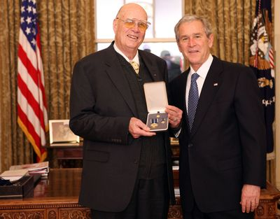 President George W. Bush stands with Forrest M. Bird, after presenting him with the 2008 Presidential Citizens Medal  at  the White House in December. White House photo by Chris Greenberg (White House photo by Chris Greenberg / The Spokesman-Review)