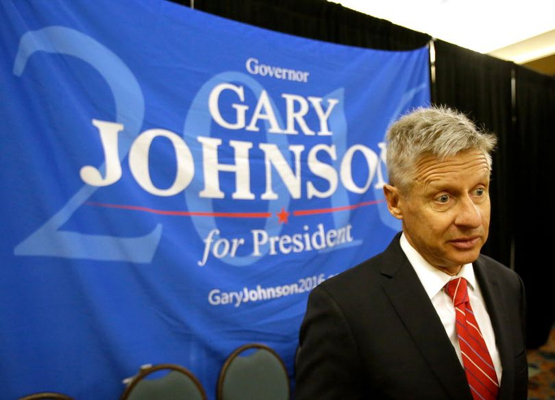 In a Friday, May 27, 2016, file photo, Libertarian presidential candidate Gary Johnson speaks to supporters and delegates at the National Libertarian Party Convention, in Orlando, Fla. Omn Sunday, May 29, 2016, The Libertarian Party again nominated former New Mexico Gov. Johnson as its presidential candidate, believing he can challenge presumptive Republican nominee Donald Trump and Democratic front-runner Hillary Clinton because of their poor showing in popularity polls. (AP Photo/John Raoux, File)