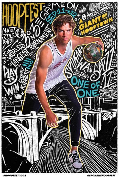 Corey Kispert on the cover of the 2021 Hoopfest poster designed by Propaganda Creative. Kispert was photographed by Christopher Sean Gray.  (Spokane Hoopfest Association)