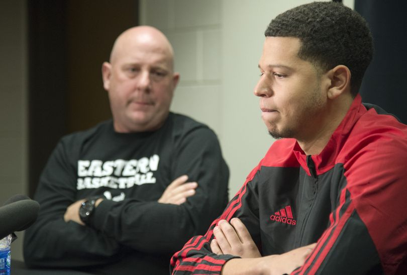 EWU's Tyler Harvey, right, and his coach, Jim Hayford, believe now is time for Harvey to realize his dream of playing in NBA. (Jesse Tinsley)
