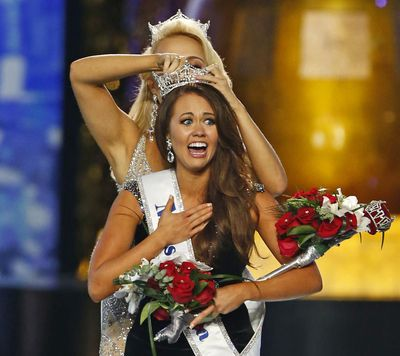 Miss North Dakota Cara Mund reacts after being named Miss America during the pageant Sept. 10, 2017, in Atlantic City, N.J. (Noah K. Murray / Associated Press)