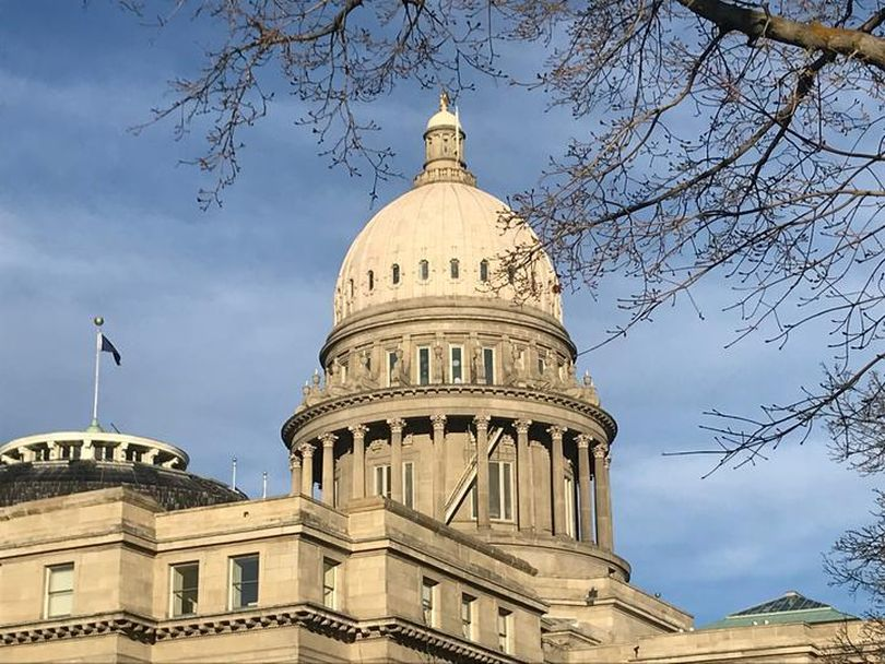 Idaho's state Capitol, shown on Tuesday, March 27, 2018, as lawmakers worked to finish their 2018 legislative session. (Betsy Z. Russell / The Spokesman-Review)