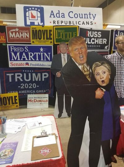 A cardboard cutout appearing to show President Donald Trump holding Hillary Clinton in a chokehold has drawn criticism in Ada County. (Courtesy of Diana Lachiondo)