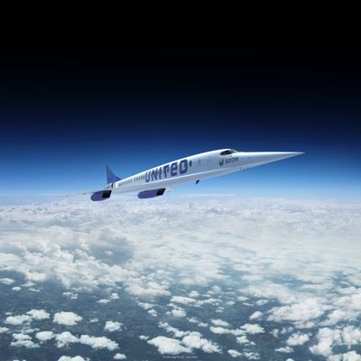 An artist's rendition of United Airlines' Boom Supersonic Overture jet is shown in this image provided by Boom Supersonic.  (Associated Press)