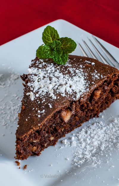 Green Chocolate Olive Oil Cake is a tasty, vegan dessert for one or two. (Valerie McKinley)
