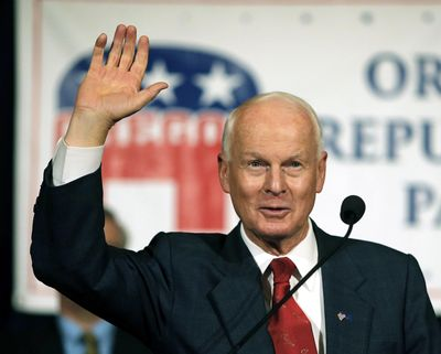 In this Nov. 8, 2016 photo, Dennis Richardson, the Oregon Republican Secretary of state candidate, waves to the crowd during an election night event at the Salem Convention Center in Salem, Ore. (Timothy J. Gonzalez / Associated Press)