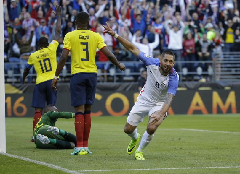 United States' Clint Dempsey, right, celebrates after teammate Gyasi Zardes scored against Ecuador during a Copa America  quarterfinal soccer match Thursday at CenturyLink Field in Seattle. (Ted S. Warren / Associated Press)