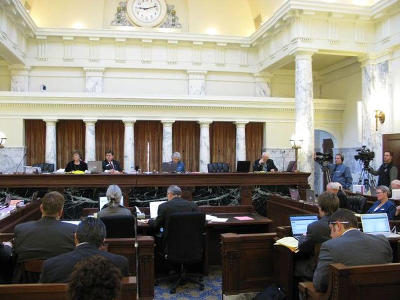 The Idaho Legislature's Joint Finance-Appropriations Committee, which meets in the historic former Idaho Supreme Court chambers on the third floor of the Idaho state capitol, debates school funding during the 2010 legislative session. (Betsy Russell)