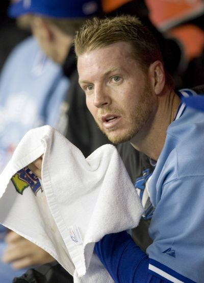 Blue Jays starter Roy Halladay wiped up the Mariners with a seven-hit, 5-0 shutout.  (Associated Press / The Spokesman-Review)