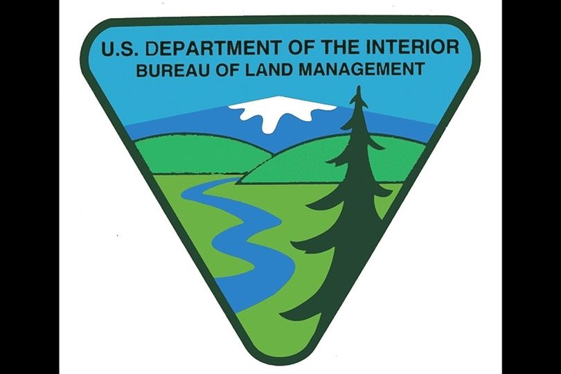 Logo for BLM, the U.S. Bureau of Land Management.