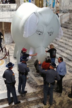 OLYMPIA -- Members of the Backbone Campaign try to right an elephant they are inflating in the Capitol Rotunda as part of their call for a state income tax. (Jim Camden)