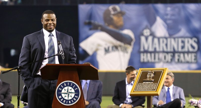 Former Seattle Mariners outfielder Ken Griffey Jr. speaks during a pregame ceremony to induct him into the baseball team's Hall of Fame. (Associated Press)