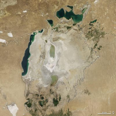 The Aral Sea in 2015. The body of water has shrunken in size dramatically in recent years due to water withdrawals from rivers that feed it. (NASA Earth Observatory / Courtesy)