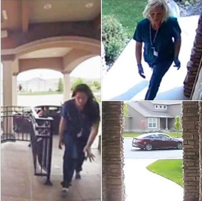 The Kennewick Police Department posted this picture of two women dressed up as nurses who they believe have been stealing packages from front porches. They're asking the public for help identifying the women. (Kennewick Police Department)