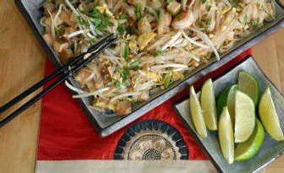 Classic Pad Thai, a hearty noodle dish, is a mix of rice noodles, onions, garlic, tofu, shrimp and various other flavors.   (Photos by Jesse Tinsley / The Spokesman-Review)