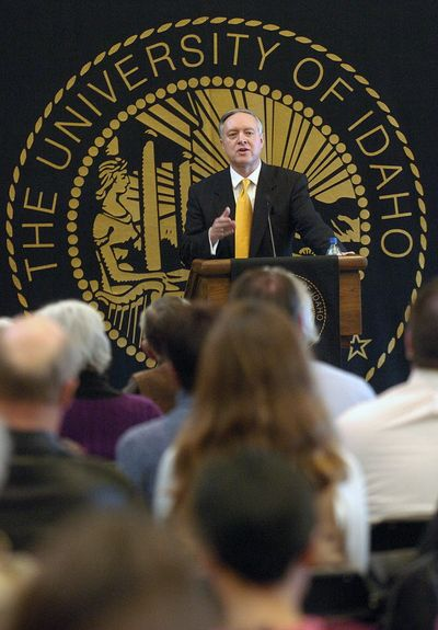 University of Idaho presidential candidate Duane Nellis speaks at a public forum during his offical visit Feb. 3, 2009, in Moscow, Idaho. Duane Nellis was named as the new University of Idaho president April 22. (Lewiston Tribune)