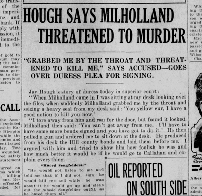 Jay Hough recalled threats made against him by John Milholland as part of a fraudulent bond scheme on April 19, 1921.  (S-R archives)