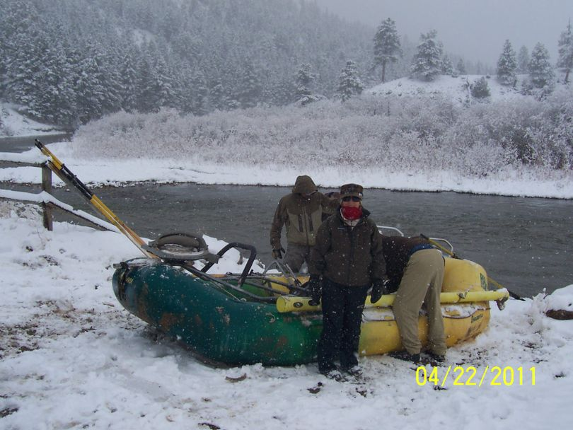 A Montana State Parks work crew gears up at the put in on the Smith River on April 22, 2011. (Montana Fish, Wildlife and Parks)