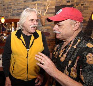 Woody McEvers and I at Huckleberries Online Blogfest 2017 Saturday. (Duane Rasmussen photo)