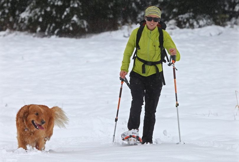 Windy Leu, passes under the Hogsback Express lift with her dog Cedar on Tuesday, Oct. 26, 2010 in Stevens Pass, Wash. A robust storm brought snow to the Washington Cascades and Olympics, as well as high surf on the coast and rain and wind in the Western Washington lowlands.  (Steve Ringman / The Seattle Times)