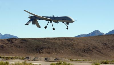 An MQ-1 Predator makes its final landing approach to Indian Springs Auxiliary Field in Nevada in  April  2005.  (File Associated Press / The Spokesman-Review)